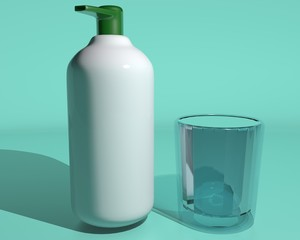 Soap bottle and glass of water