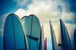 Leinwandbild Motiv Retro Styled Vintage Surf Boards In Hawaii