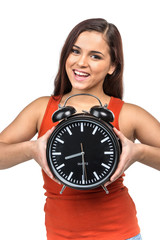 portrait of young woman holding clock.