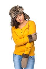 beautiful woman in warm clothing closeup portrait.