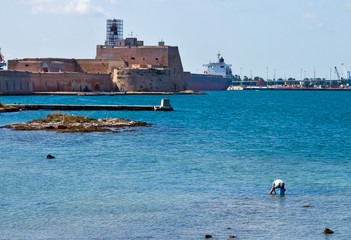 Brindisi, Aragonese Castle from the sea - Puglia - Italy