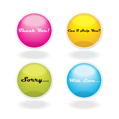set of color vector buttons