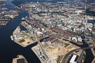 Speicherstadt und HafenCity Hamburg Luftaufnahme