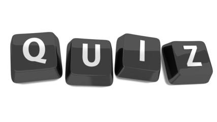 QUIZ written in white on black computer keys