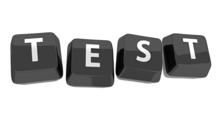 TEST written in white on black computer keys