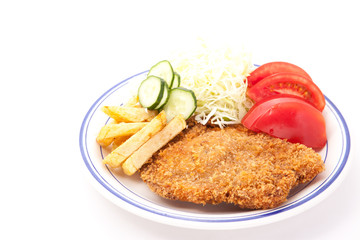side dishes and pork cutlet