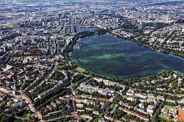 Hamburg, Luftaufnahme mit Alster