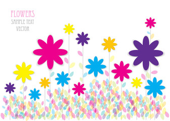 color vector illustration of blooming meadow