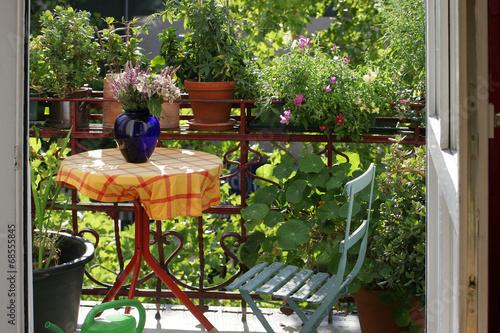 grüner balkon einer stadtwohnung - 68555845
