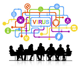 Vector of Business People and Computer Virus