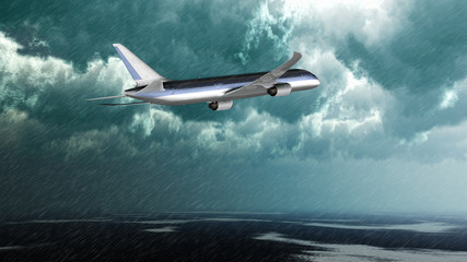 Verkehrsflugzeug imVorbeiflug bei Starkregen