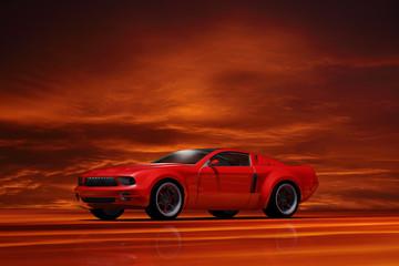 Sportwagen im Licht des Sonnenuntergangs