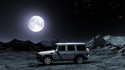 Geländewagen in einer Mondlandschaft bei Nacht