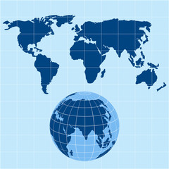 vector world map and globe
