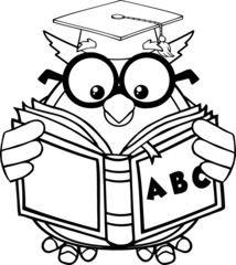 Black And White Wise Owl Teacher Reading A ABC Book