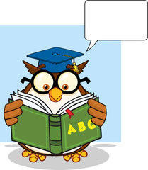 Wise Owl Teacher Character Reading A ABC Book And Speech Bubble