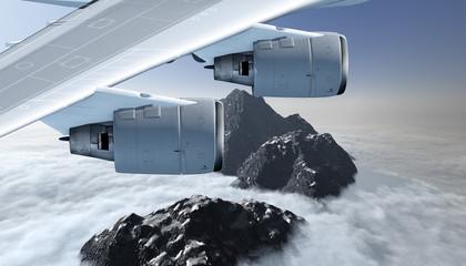 Tragfläche mit zwei Strahltriebwerken im Flug über ein Gebirge