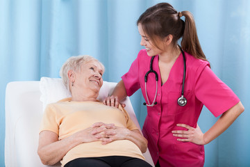 Senior talking with doctor