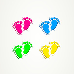 Baby footprints traces icon button child