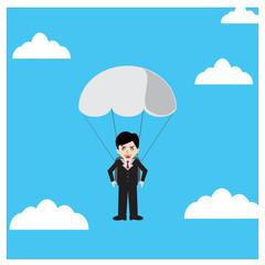 Businessman parachute jump