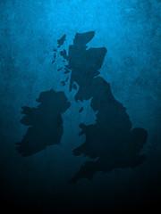 Blue grungy UK and Ireland map