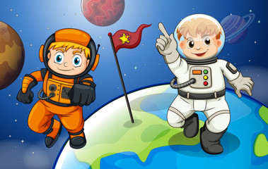 Two male astronauts in the outerspace