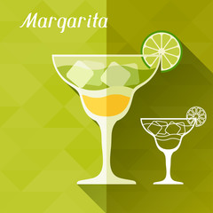 Illustration with glass of margarita in flat design style.