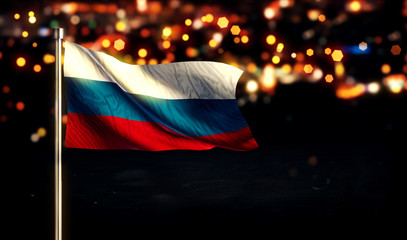 Russia Flag City Light Night Bokeh Background 3D