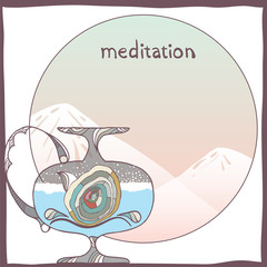 Meditation. Vector illustration