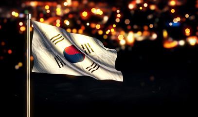 Korean Flag City Light Night Bokeh Background 3D