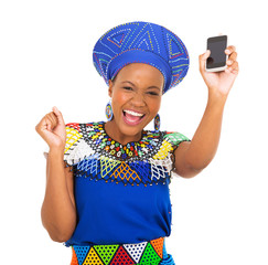 south african woman holding mobile phone