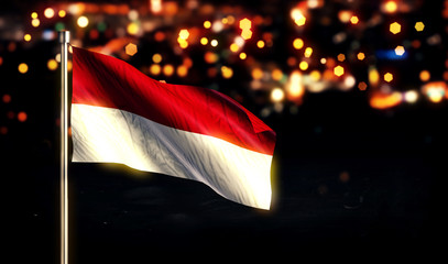 Indonesia Monaco Flag City Light Night Bokeh Background 3D