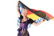 Frau im Dirndl mit Fahne und Flagge