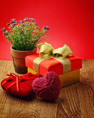 Heart, Valentines Day gift box and flower