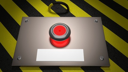 Warning sign with red button and blank label