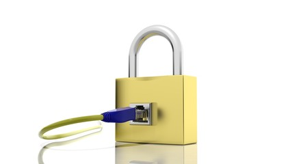 Gold padlock icon with internet access plug isolated