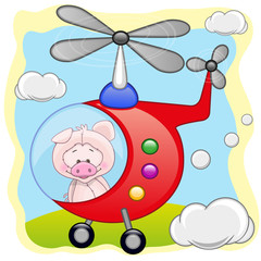 Pig in helicopter