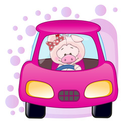 Pig girl in a car