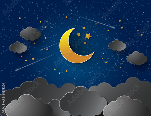 Moon and stars. Vector paper-art
