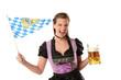 junge Frau mit Dirndl und Bayrischem Bier