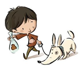 niño paseando on su perro