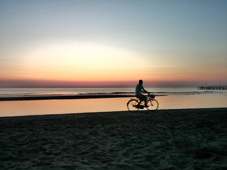 Bicycle At Rimini Beach Sunrise