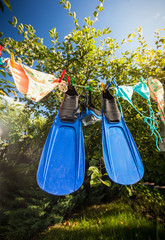 flippers and snorkeling mask drying on clothesline