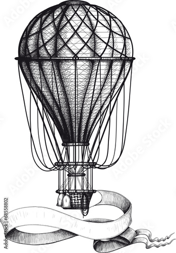 Vintage hot air balloon with banner - 68558802