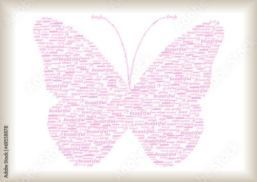Naklejka vintage butterfly made of pink words