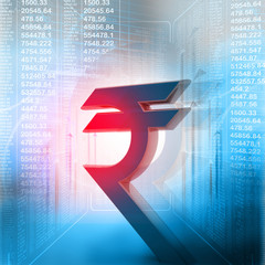 Indian rupee symbol in business background