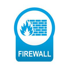 Etiqueta tipo app azul redonda FIREWALL