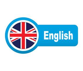 Etiqueta tipo app azul alargada English