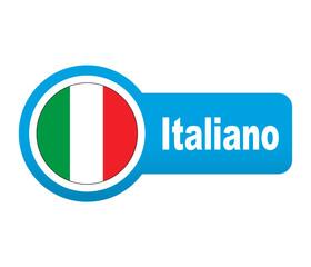 Etiqueta tipo app azul alargada Italiano