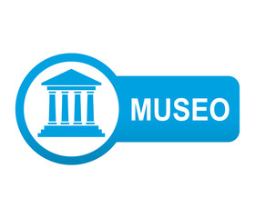 Etiqueta tipo app azul alargada MUSEO